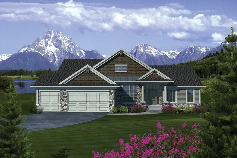 Ranch Exterior - Front Elevation Plan #70-1085