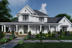 Dream House Plan - Farmhouse Exterior - Front Elevation Plan #120-266