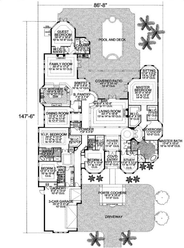 Mediterranean Floor Plan - Main Floor Plan Plan #420-220