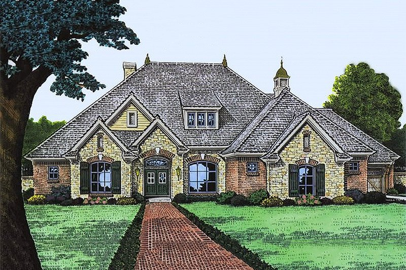 European Style House Plan - 3 Beds 2.5 Baths 2298 Sq/Ft Plan #310-991 Exterior - Front Elevation