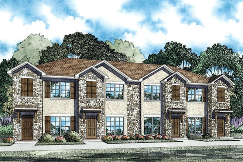 Traditional Style House Plan - 2 Beds 2 Baths 4212 Sq/Ft Plan #17-2466 Exterior - Front Elevation