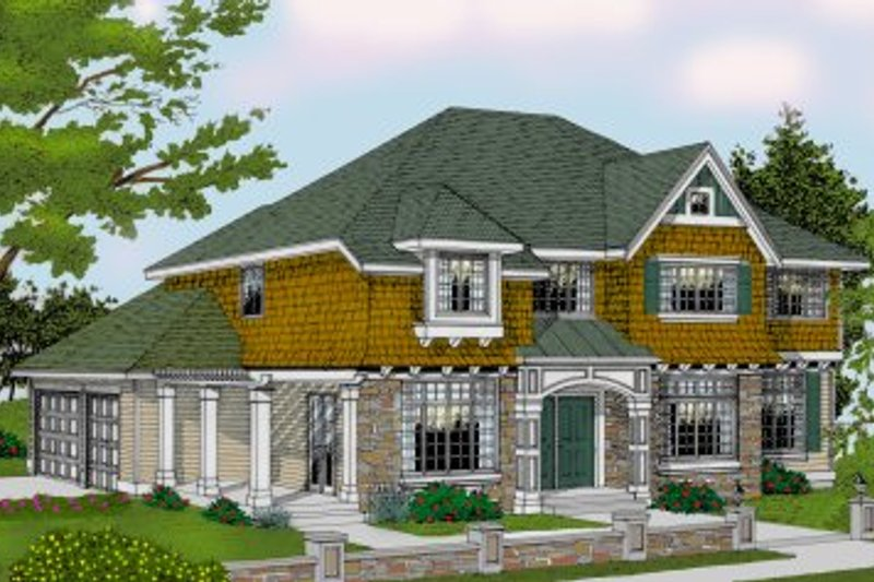 Craftsman Exterior - Front Elevation Plan #99-209