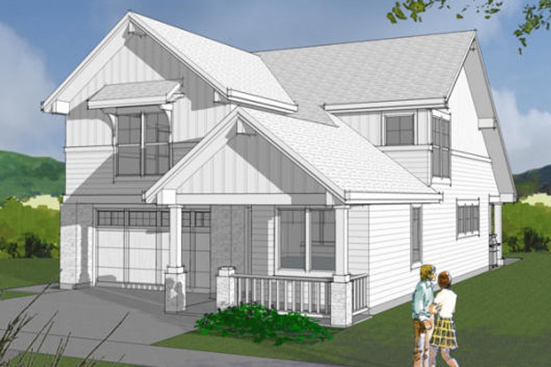 Craftsman Exterior - Front Elevation Plan #48-483 - Houseplans.com