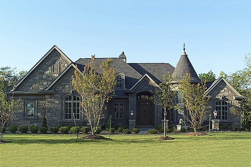 Home Plan - Front View - 6400 square foot European style home