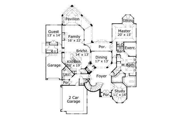 Mediterranean Floor Plan - Main Floor Plan Plan #411-641
