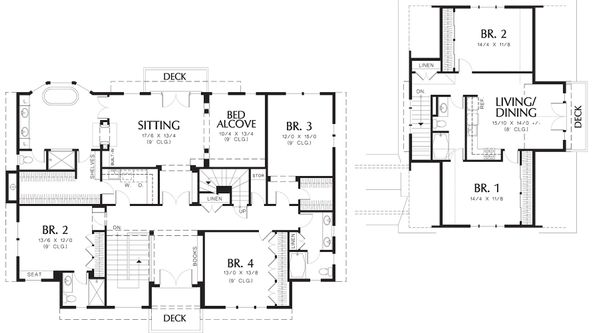 Colonial Floor Plan - Upper Floor Plan Plan #48-151