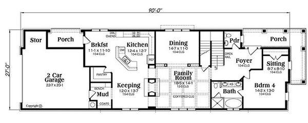 Craftsman Floor Plan - Main Floor Plan Plan #419-285