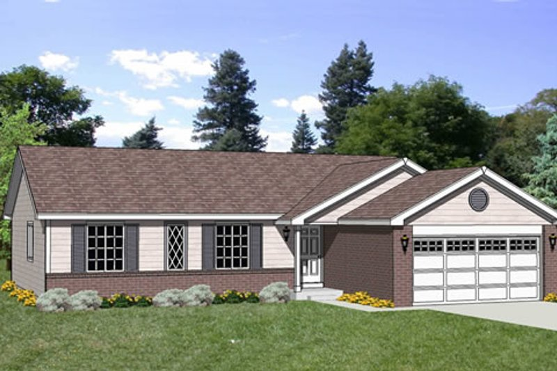 Ranch Style House Plan - 4 Beds 2 Baths 1346 Sq/Ft Plan #116-245 Exterior - Front Elevation
