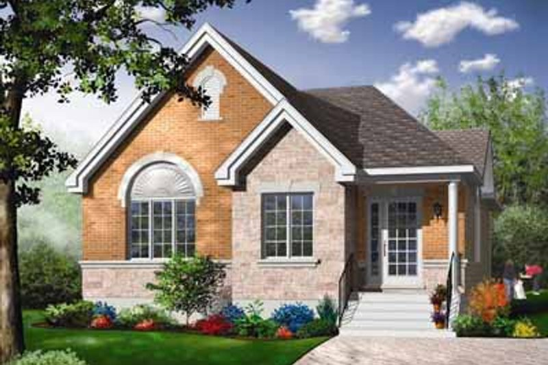 European Style House Plan - 4 Beds 1 Baths 1433 Sq/Ft Plan #23-353 Exterior - Front Elevation