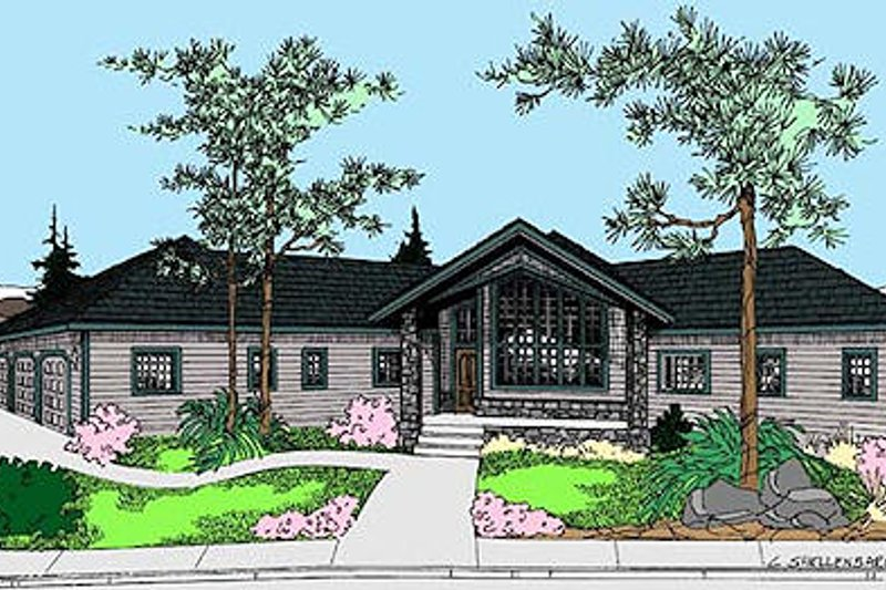 Modern Style House Plan - 3 Beds 2 Baths 2648 Sq/Ft Plan #60-652 Exterior - Front Elevation