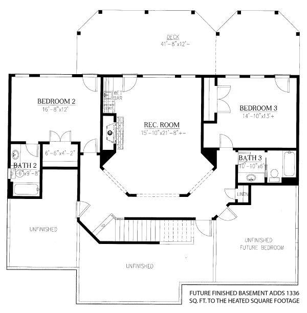 Cottage Floor Plan - Lower Floor Plan Plan #437-107