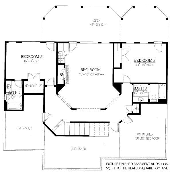 Dream House Plan - Cottage Floor Plan - Lower Floor Plan #437-107