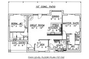 Cabin Style House Plan - 2 Beds 2 Baths 1727 Sq/Ft Plan #117-517 Floor Plan - Main Floor Plan