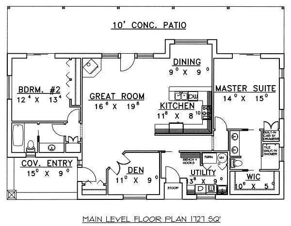 House Design - Cabin Floor Plan - Main Floor Plan #117-517