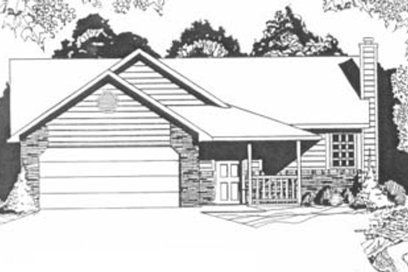 Traditional Style House Plan - 2 Beds 2 Baths 1041 Sq/Ft Plan #58-103 Exterior - Front Elevation