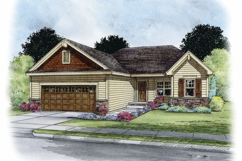 Craftsman Exterior - Front Elevation Plan #20-2181