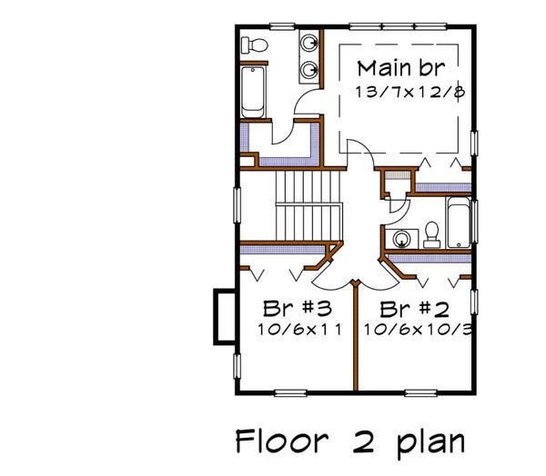 Southern Floor Plan - Upper Floor Plan Plan #79-201