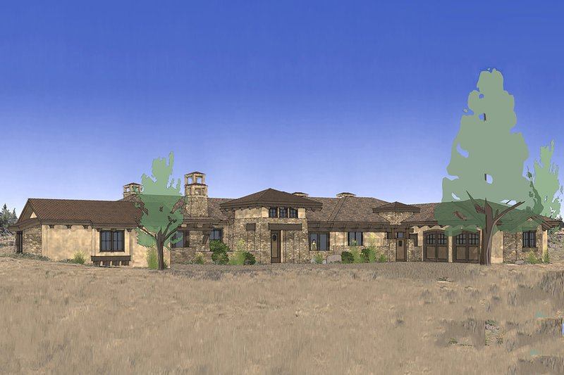 Mediterranean Style House Plan - 3 Beds 3.5 Baths 3574 Sq/Ft Plan #892-31 Exterior - Front Elevation