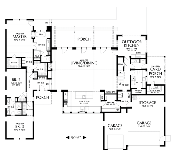 Modern Floor Plan - Main Floor Plan Plan #48-694