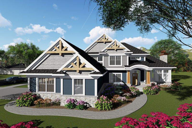 Architectural House Design - Craftsman Exterior - Front Elevation Plan #70-1428