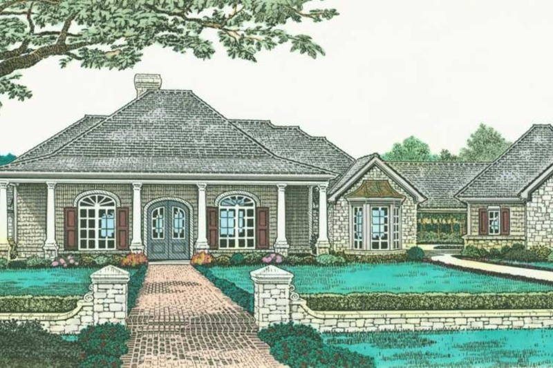 Colonial Style House Plan - 3 Beds 2 Baths 2179 Sq/Ft Plan #310-595 Exterior - Front Elevation