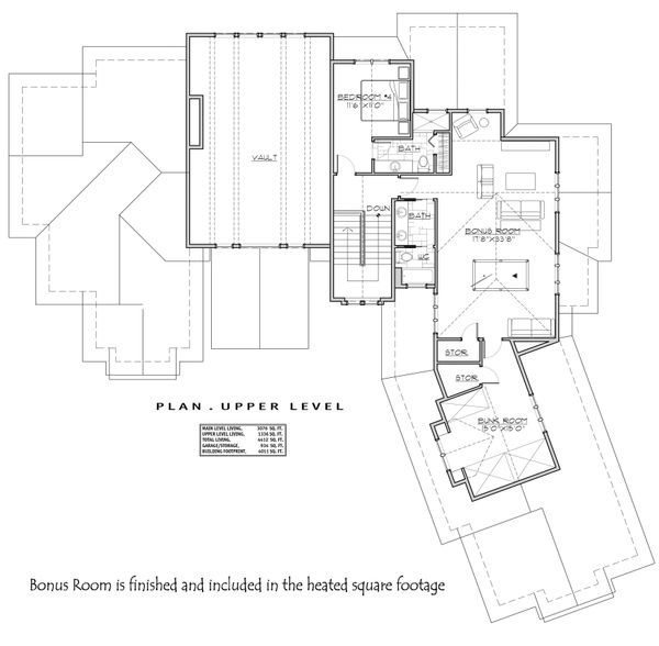 Craftsman Floor Plan - Upper Floor Plan Plan #892-28
