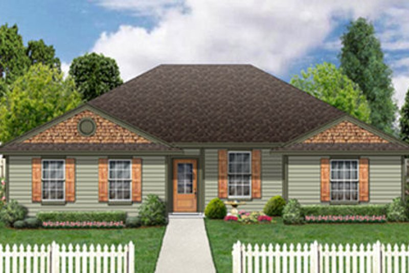 Ranch Style House Plan - 3 Beds 2 Baths 1546 Sq/Ft Plan #84-475 Exterior - Front Elevation