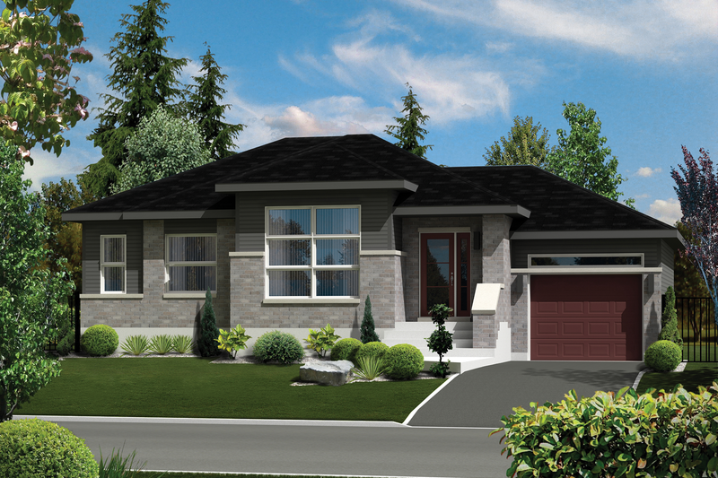 Contemporary Style House Plan - 2 Beds 1 Baths 1019 Sq/Ft Plan #25-4273 Exterior - Front Elevation