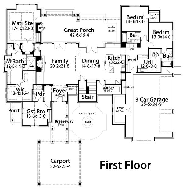 Country style house plan, Craftsman detail, main level floor plan