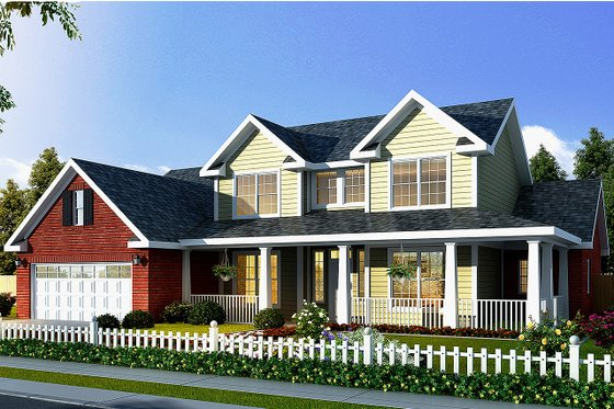 Country Exterior - Front Elevation Plan #513-2051
