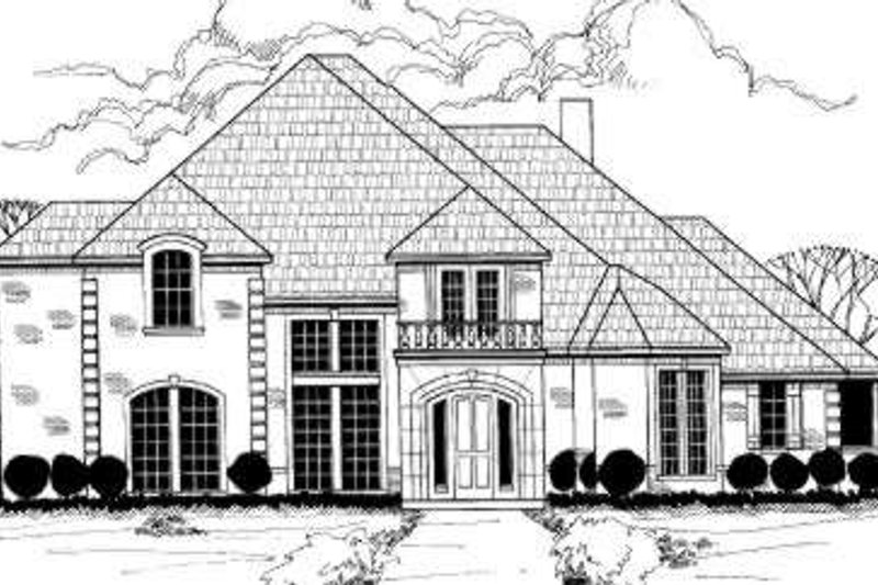 European Style House Plan - 6 Beds 3.5 Baths 3969 Sq/Ft Plan #317-141 Exterior - Front Elevation