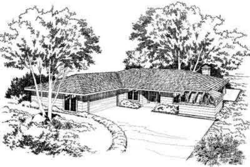 Modern Style House Plan - 3 Beds 2 Baths 1464 Sq/Ft Plan #312-103 Exterior - Front Elevation