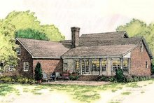 House Design - Southern colonial style home, rear elveation