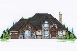 European Exterior - Front Elevation Plan #5-401