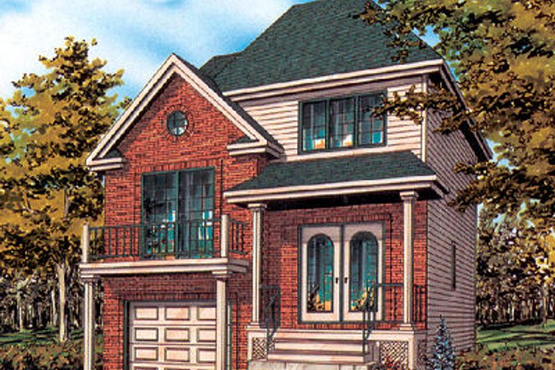 European Style House Plan - 2 Beds 1.5 Baths 1262 Sq/Ft Plan #138-212 Exterior - Front Elevation
