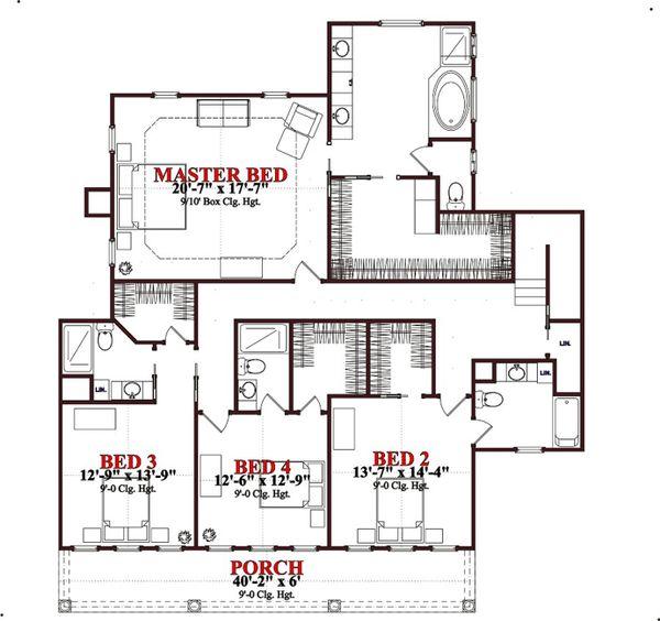 Traditional Floor Plan - Upper Floor Plan Plan #63-261