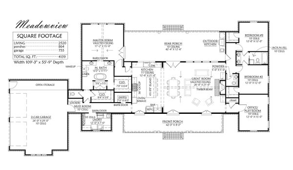 Farmhouse Floor Plan - Main Floor Plan Plan #1074-14