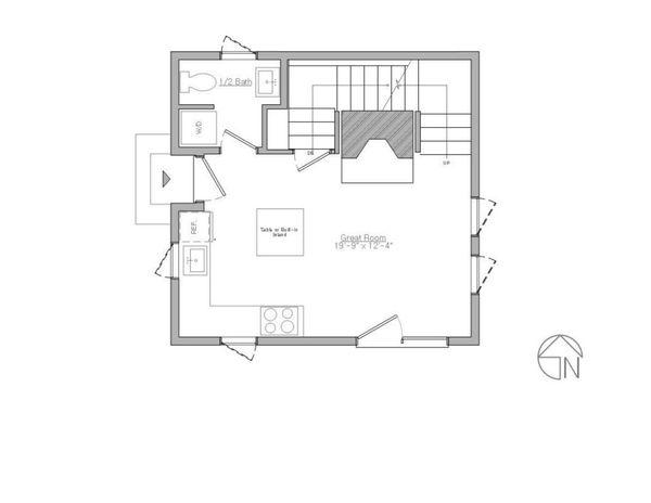 Modern Style House Plan - 1 Beds 1.5 Baths 735 Sq/Ft Plan #914-3 Floor Plan - Main Floor Plan