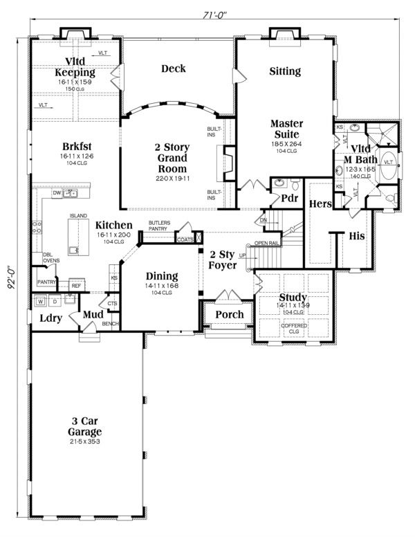 Home Plan Design - European Floor Plan - Main Floor Plan #419-240