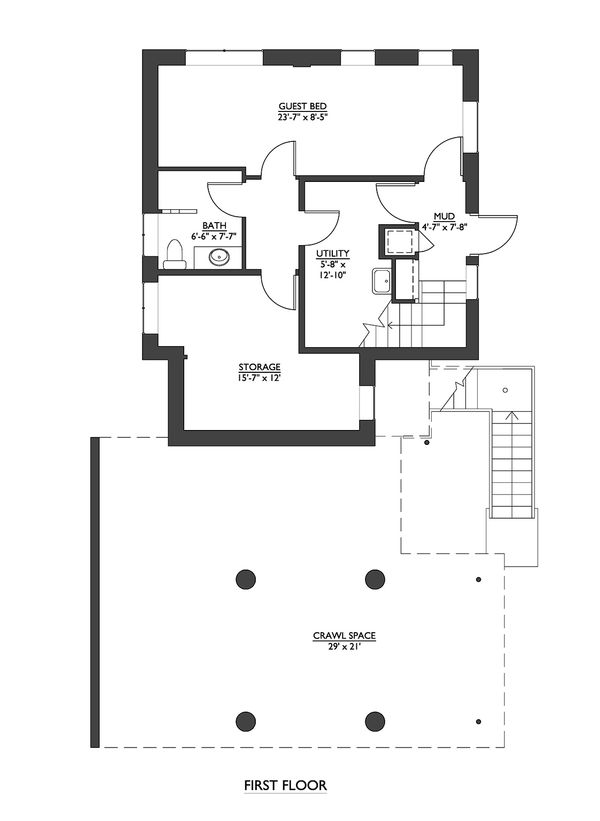 Modern Floor Plan - Lower Floor Plan Plan #890-6