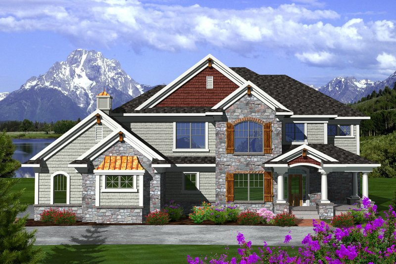 Dream House Plan - Craftsman Exterior - Front Elevation Plan #70-1125