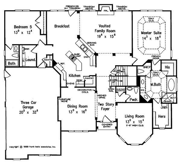 European Style House Plan - 5 Beds 4.5 Baths 3618 Sq/Ft Plan #927-27 Floor Plan - Main Floor Plan