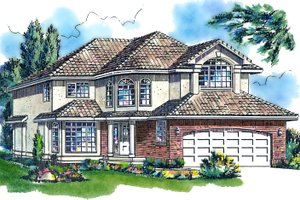 Mediterranean Exterior - Front Elevation Plan #18-240