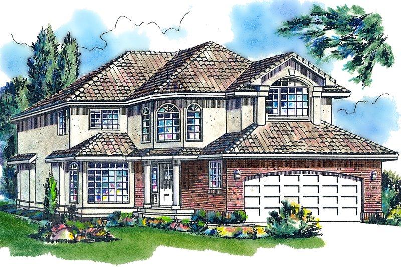 House Blueprint - Mediterranean Exterior - Front Elevation Plan #18-240