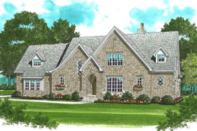 European Style House Plan - 4 Beds 3.5 Baths 3795 Sq/Ft Plan #413-799 Exterior - Front Elevation