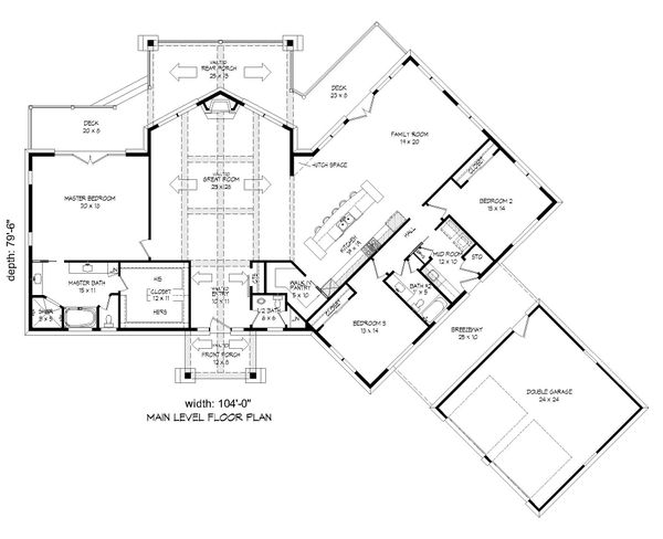 Cabin Floor Plan - Main Floor Plan Plan #932-288