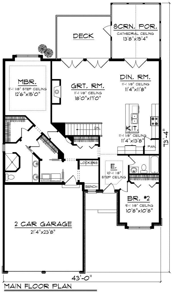 House Plan Design - European Floor Plan - Main Floor Plan #70-1161