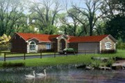 Adobe / Southwestern Style House Plan - 4 Beds 2 Baths 1889 Sq/Ft Plan #1-405 Exterior - Front Elevation