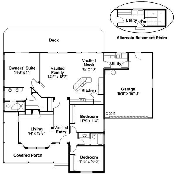 Farmhouse Floor Plan - Main Floor Plan Plan #124-406