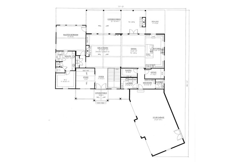 Craftsman Floor Plan - Main Floor Plan Plan #437-103